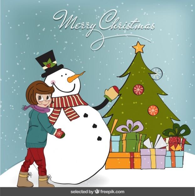 tarjeta de navidad con una chica y mueco de nieve vector gratis
