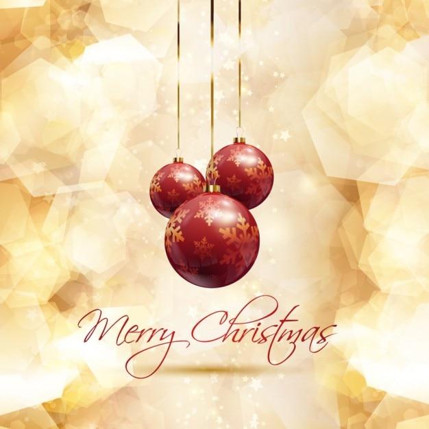 Tarjeta de navidad dorada con bolas de navidad rojas - Bolas de navidad doradas ...