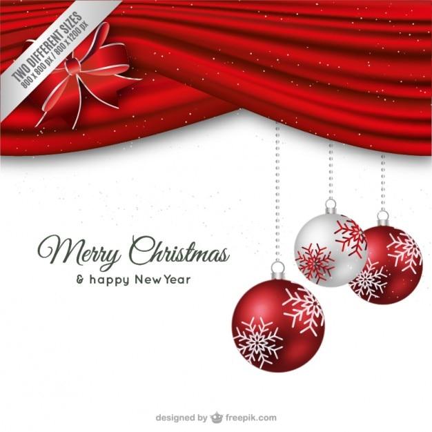 tarjeta de navidad minimalista roja y blanca vector gratis