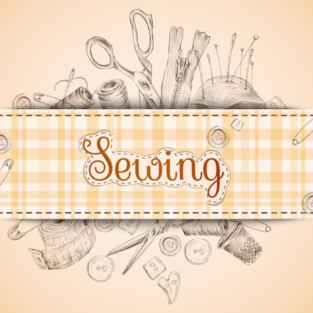 Tarjeta de papel de coser con accesorios de costura Vector Gratis