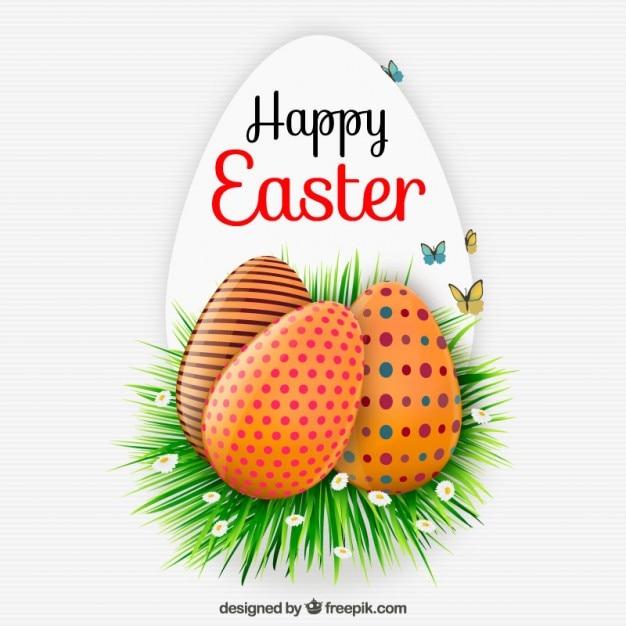 Tarjeta de pascua feliz con huevos decorados descargar - Huevos decorados de pascua ...