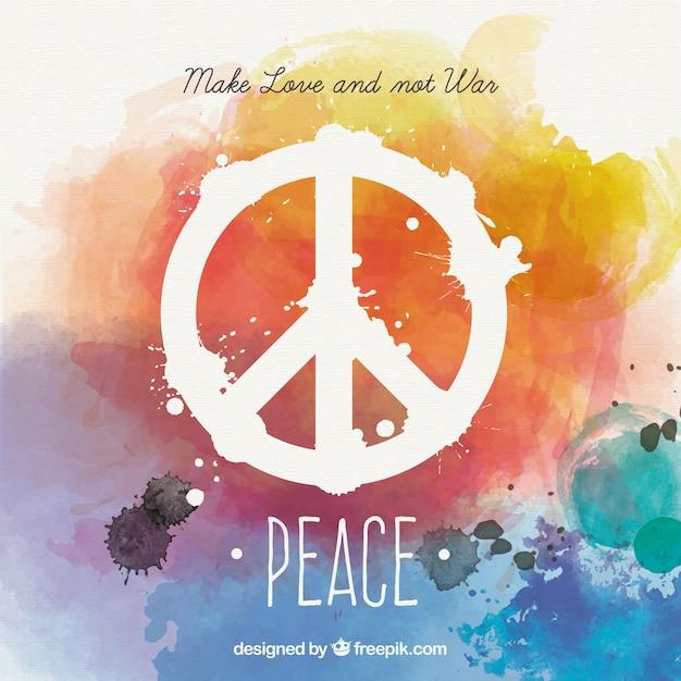 Tarjeta de paz de acuarela en estilo colorido Vector Gratis