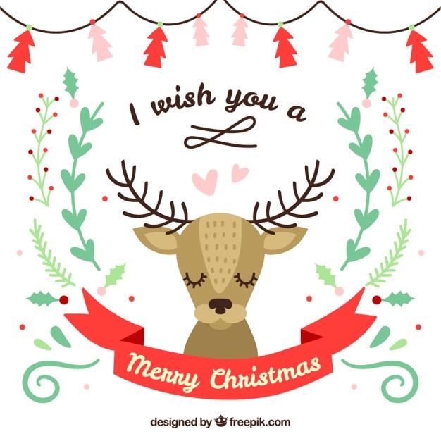 Tarjeta de reno de navidad lindo | Descargar Vectores Premium
