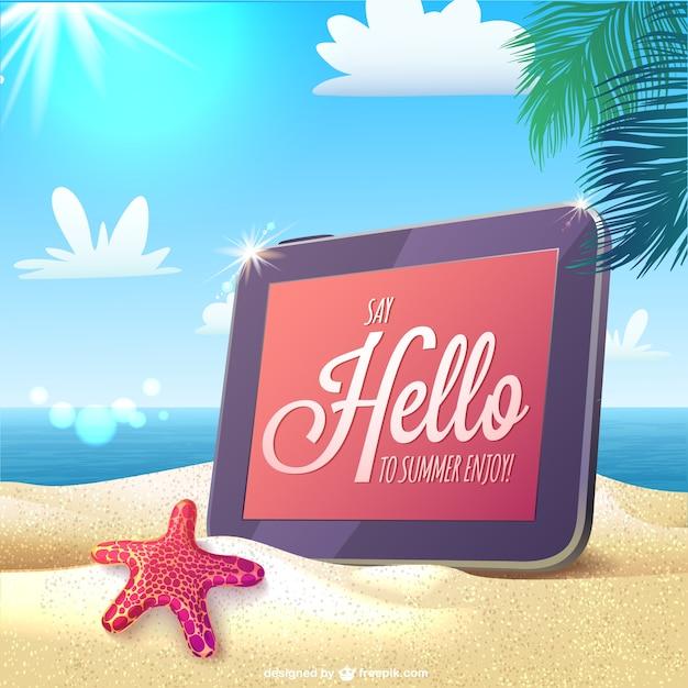 Tarjeta de verano con saludo  Descargar Vectores gratis