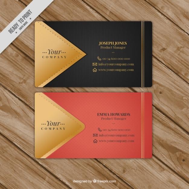 Tarjeta de visita fantástica con detalles dorados Vector Premium