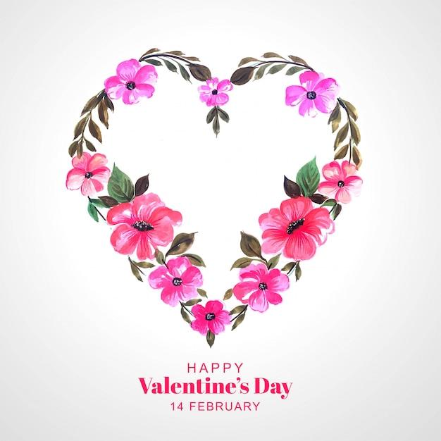 Tarjeta decorativa hermosa del corazón de la flor vector gratuito