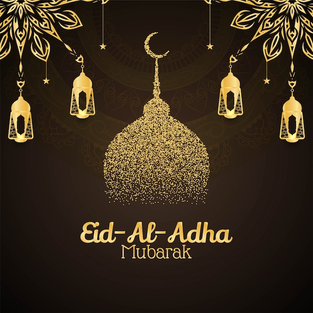 Tarjeta decorativa religiosa eid al adha mubarak vector gratuito