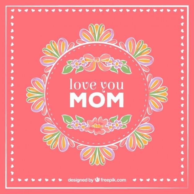 Tarjeta del d a de la madre con decoraci n floral for Decoracion para el dia de la madre