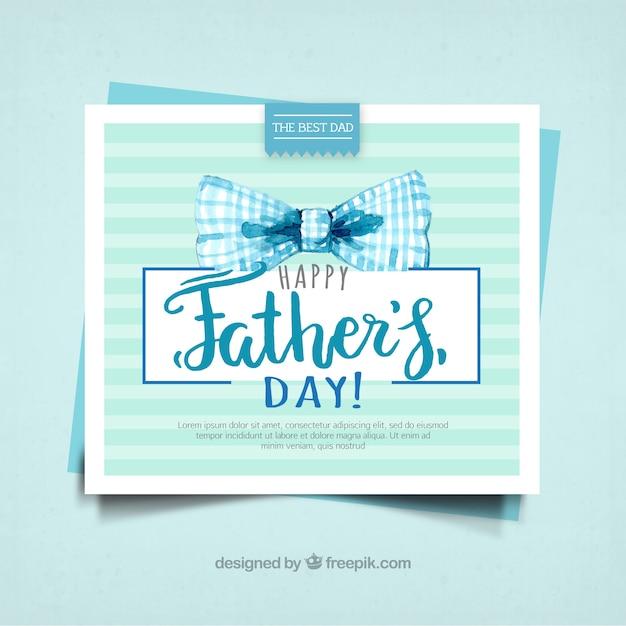 Tarjeta del día del padre con lazo de acuarela  Vector Gratis