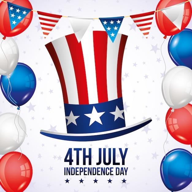 Tarjeta del día de la independencia Vector Premium