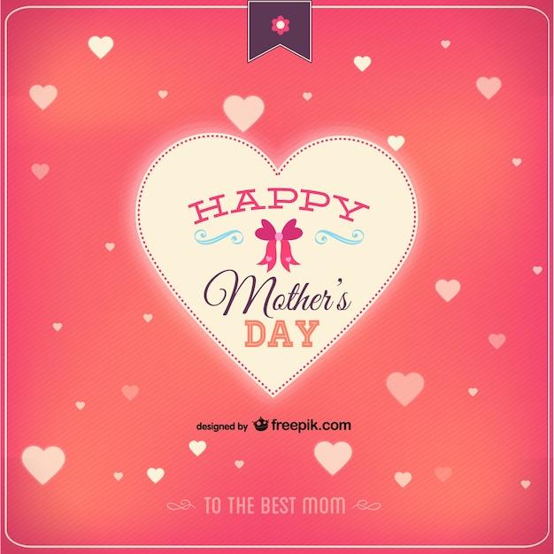 Tarjeta Para El Día De La Madre Con Corazones Descargar Vectores