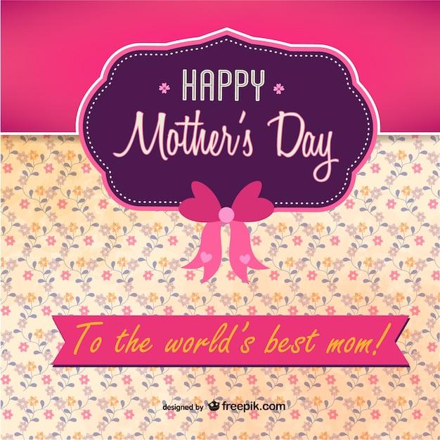 Tarjeta para el día de la madre con lazo vector gratuito