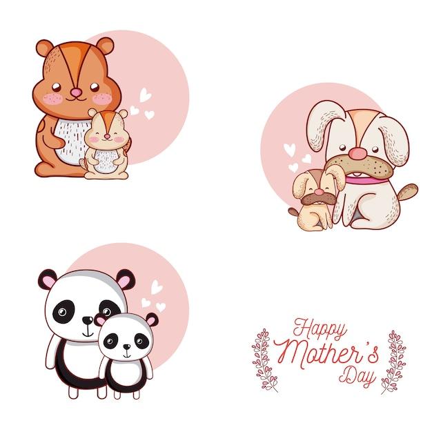 Tarjeta Del Día De Las Madres Felices Con Dibujos Animados De