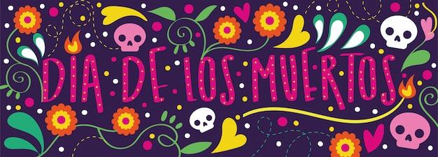 Tarjeta dia de muertos con caligrafía y decoración floral. vector gratuito