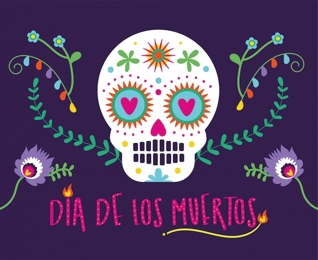 Tarjeta de dia de muertos con letras y calavera vector gratuito
