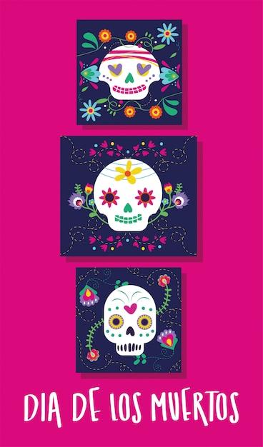 Tarjeta de dia de muertos con letras y calaveras vector gratuito