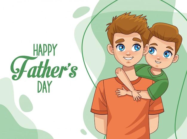 Tarjeta del día del padre con papá con hijo y letras Vector Premium