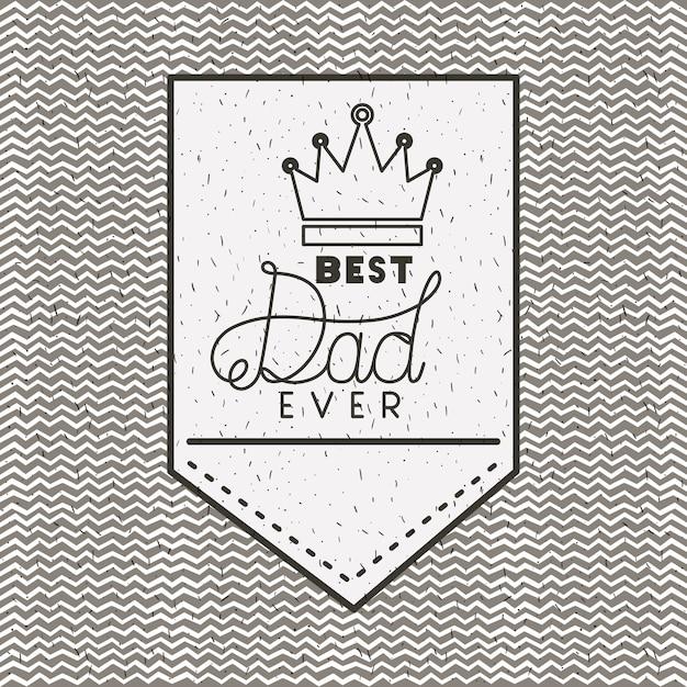 Tarjeta del día de padres feliz con rey corona Vector Premium