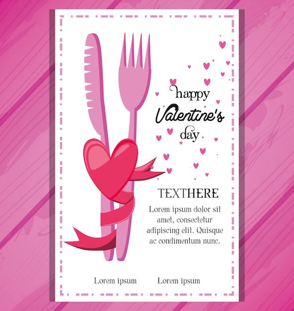 Tarjeta Del Día De San Valentín Con Invitación De Cena