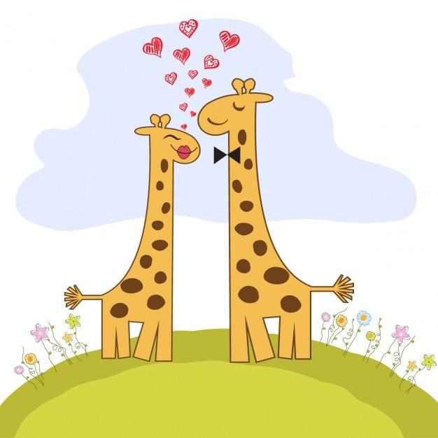Tarjeta De Dia De San Valentin Con Pareja De Jirafas Graciosas