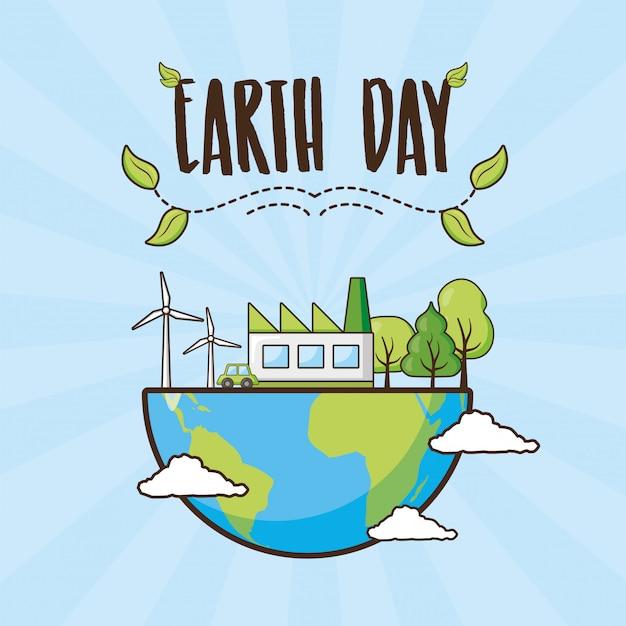 Tarjeta del día de la tierra, planeta con árboles y objetos de energía limpia, ilustración vector gratuito
