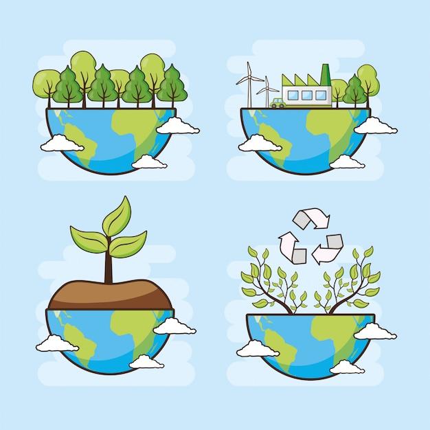 Tarjeta del día de la tierra, planeta con bosque y árboles, ilustración vector gratuito