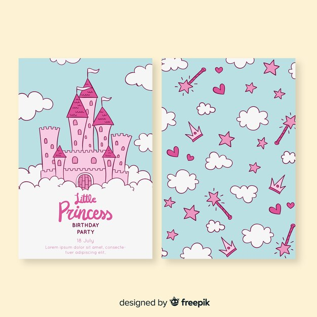 Tarjeta dibujada de cumpleaños de estilo princesa vector gratuito
