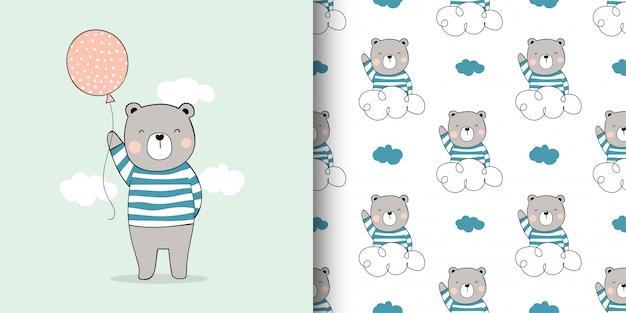 Tarjeta de dibujo y estampado de osito para niños textiles de tela. Vector Premium