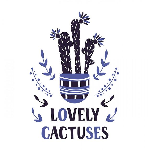 Tarjeta de dibujos animados con planta en maceta casa, flor, letras Vector Premium