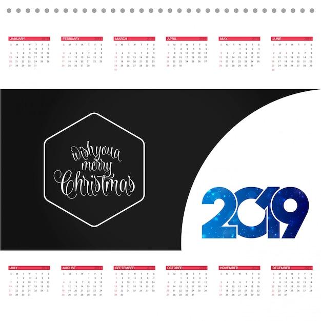 Tarjeta de diseño de calendario de navidad con vector de fondo creativo vector gratuito