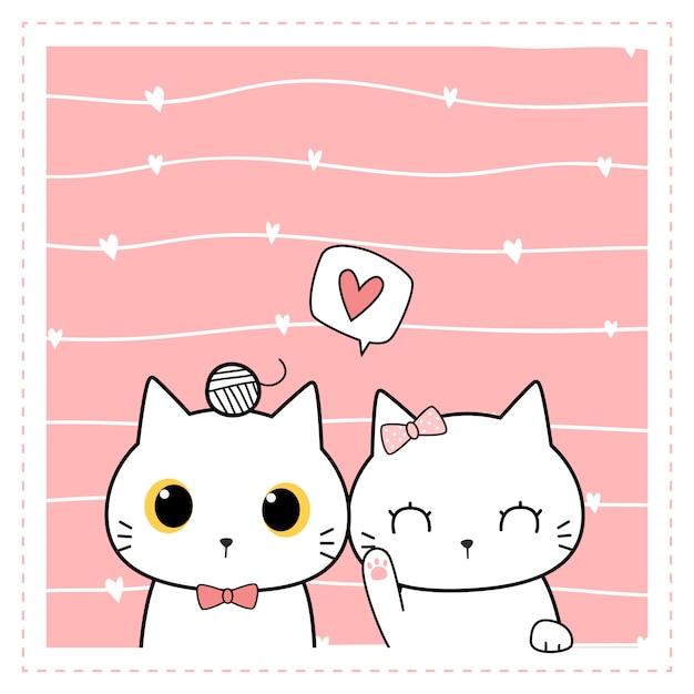 Tarjeta de doodle de dibujos animados lindo gato pareja Vector Premium