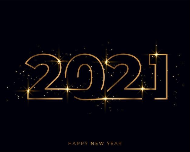 Tarjeta dorada de feliz año nuevo de estilo de línea 2021 vector gratuito