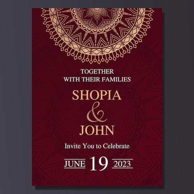 Tarjeta elegante de la invitación de la boda con el ornamento de la mandala. Vector Premium