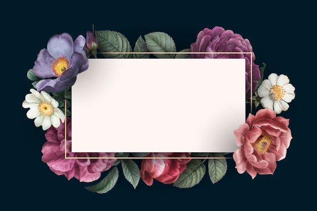 Tarjeta enmarcada floral vector gratuito