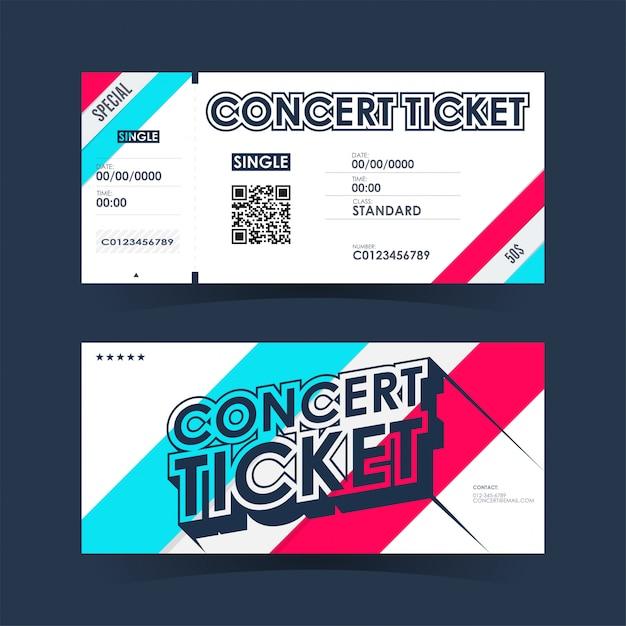 Tarjeta de entradas para conciertos. plantilla de elemento para el diseño. Vector Premium