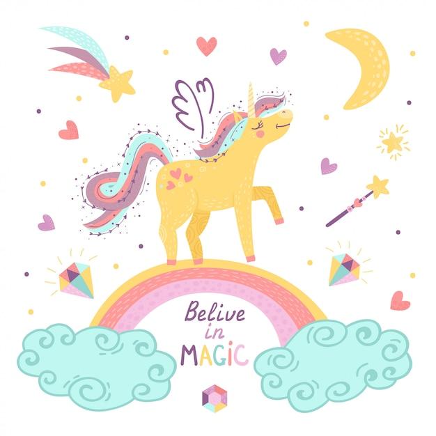 Tarjeta con fantasía unicornio y letras. Vector Premium