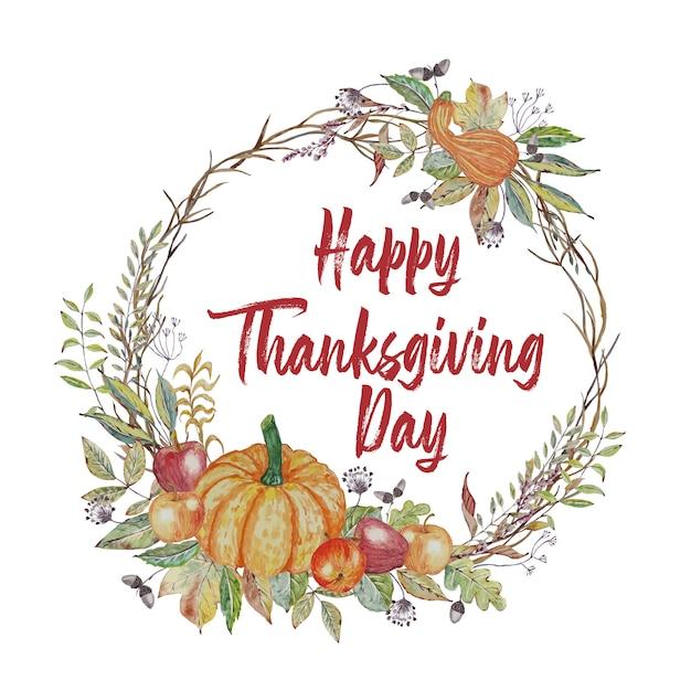 Tarjeta de felicitación de acción de gracias con hojas de otoño y corona de calabaza Vector Premium