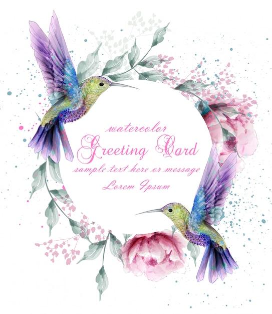Tarjeta de felicitación con acuarela guirnalda de pájaro tarareando Vector Premium