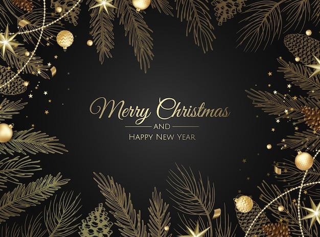 Tarjeta de felicitación de adornos dorados de feliz navidad y feliz año nuevo Vector Premium