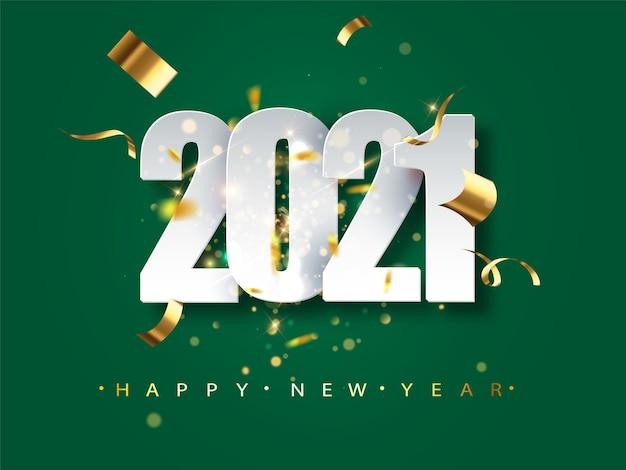 Tarjeta de felicitación de año nuevo 2021 sobre fondo verde. ilustración festiva con confeti y destellos. vector gratuito