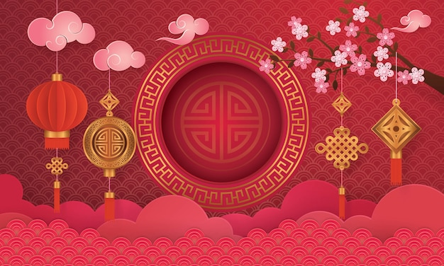 Tarjeta de felicitación de año nuevo chino con marco Vector Premium