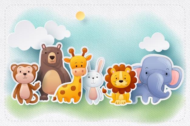 Tarjeta de felicitación de arte de papel de animales de zoológico de color de agua Vector Premium
