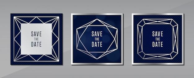 Tarjeta de felicitación azul gris fondo concepto de joyería Vector Premium