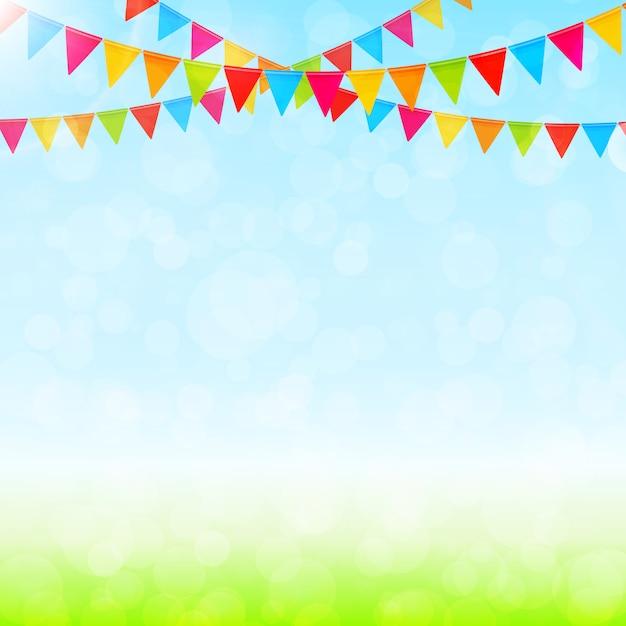 Tarjeta de felicitación con banderas de colores Vector Premium