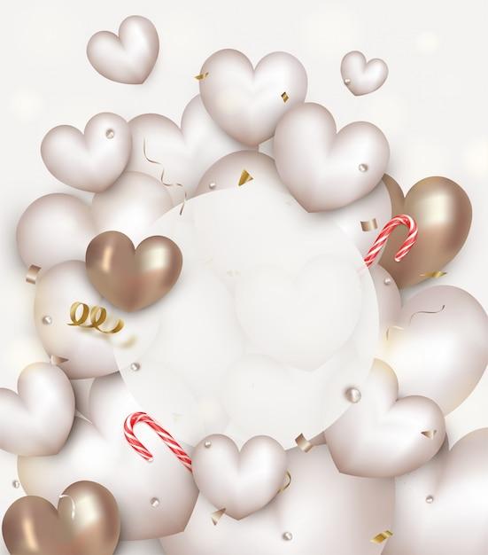 Tarjeta de felicitación con blanco y oro corazones 3d, bastón de caramelo, confeti, marco redondo. concepto de día de san valentín. Vector Premium