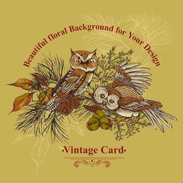 Tarjeta de felicitación de bosque con búhos, abetos y conos de abeto. Vector Premium