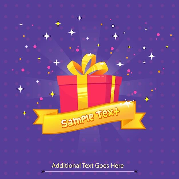 Tarjeta de felicitación de caja de regalo para navidad, cumpleaños, festivales Vector Premium