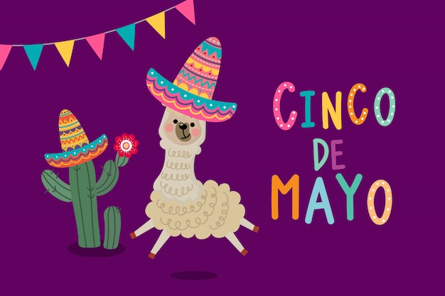 Tarjeta de felicitación del cinco de mayo con linda alpaca y cactus. Vector Premium