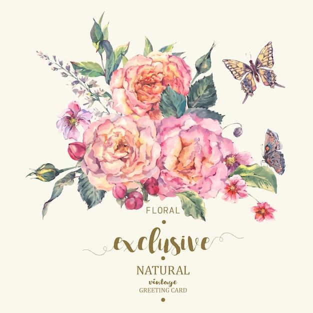 Tarjeta de felicitación clásica de rosas vintage Vector Premium