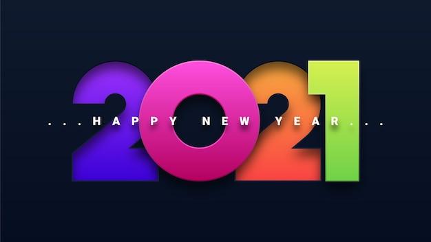 Tarjeta de felicitación colorida feliz año nuevo 2021 Vector Premium
